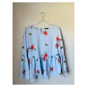 Shein blue floral embroidered bell sleeve top s
